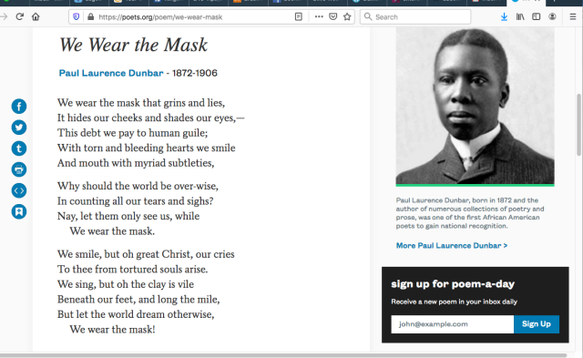 We Wear the Mask - Paul Laurence Dunbar - Screen Shot 2020-04-28 at 6.48.23 AM